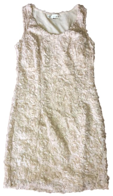 Preload https://img-static.tradesy.com/item/25317408/beige-textured-flowers-with-gold-sequins-short-night-out-dress-size-4-s-0-1-650-650.jpg