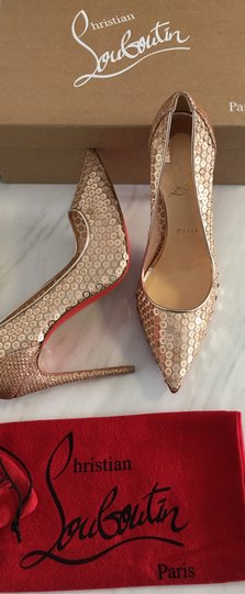 Christian Louboutin So Kate Nude Patent Patent Leather Rose Gold Pumps Image 1