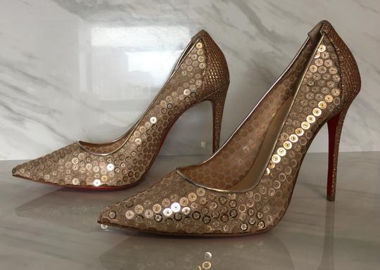 Christian Louboutin So Kate Nude Patent Patent Leather Rose Gold Pumps Image 3