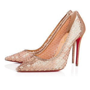 Christian Louboutin Nude Patent Patent Leather Lace 554 Rose Gold Pumps