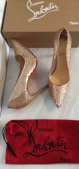 Christian Louboutin Nude Patent Patent Leather Lace 554 Rose Gold Pumps Image 1