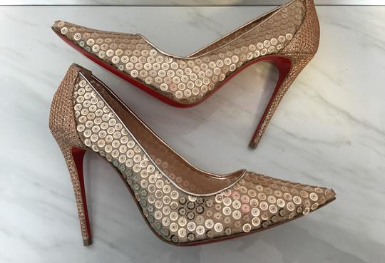 Christian Louboutin Nude Patent Patent Leather Lace 554 Rose Gold Pumps Image 2