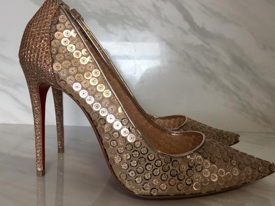 Christian Louboutin Nude Patent Patent Leather Lace 554 Rose Gold Pumps Image 3