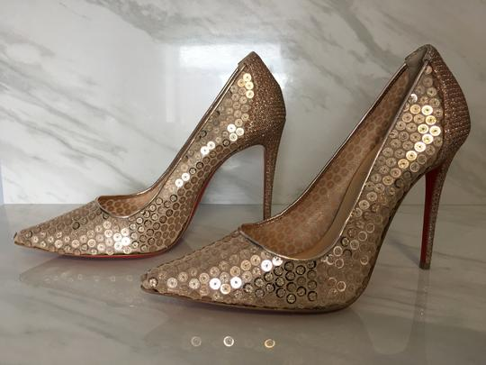 Christian Louboutin Nude Patent Patent Leather Lace 554 Rose Gold Pumps Image 4