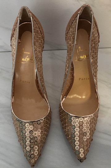 Christian Louboutin Nude Patent Patent Leather Lace 554 Rose Gold Pumps Image 5