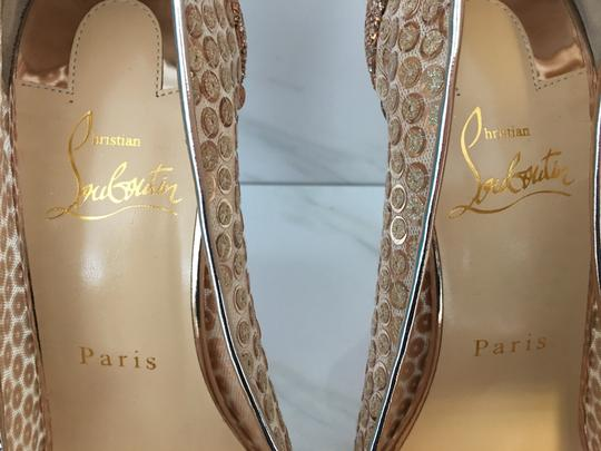 Christian Louboutin Nude Patent Patent Leather Lace 554 Rose Gold Pumps Image 6