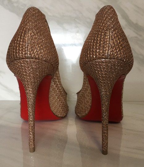 Christian Louboutin Nude Patent Patent Leather Lace 554 Rose Gold Pumps Image 8