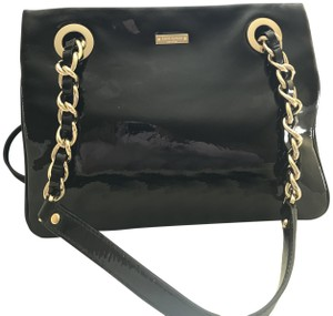Kate Spade Patent Leather Gold Hardware Half Frame Dust Pastiche Darcy Satchel in Black