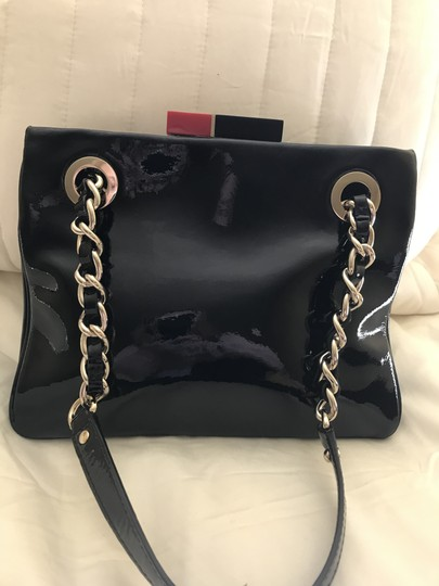 Kate Spade Patent Leather Gold Hardware Half Frame Dust Pastiche Darcy Satchel in Black Image 2