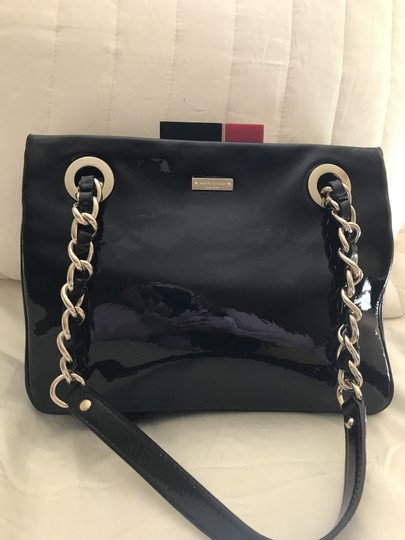 Kate Spade Patent Leather Gold Hardware Half Frame Dust Pastiche Darcy Satchel in Black Image 3