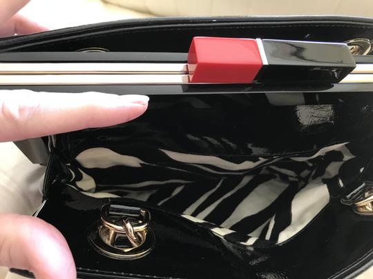 Kate Spade Patent Leather Gold Hardware Half Frame Dust Pastiche Darcy Satchel in Black Image 8