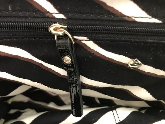 Kate Spade Patent Leather Gold Hardware Half Frame Dust Pastiche Darcy Satchel in Black Image 9