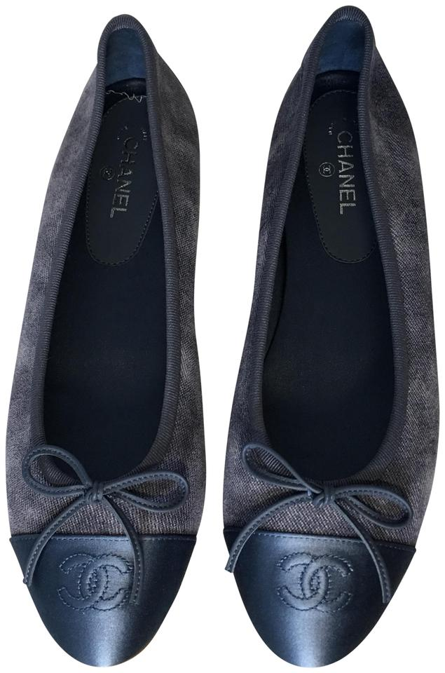 f0d87b830847e Chanel Blue Classic Leather Ballet Cc Captoe Logo Bow Slip-on Ballerina  Flats