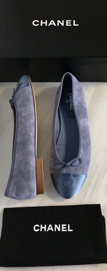 Chanel Classic Metallic Espadrille Blue Flats Image 1