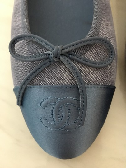 Chanel Classic Metallic Espadrille Blue Flats Image 4