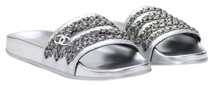 Chanel Camellia Flats Classic 40 Grey Silver Sandals