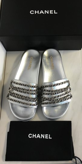 Chanel Camellia Flats Classic 40 Grey Silver Sandals Image 1
