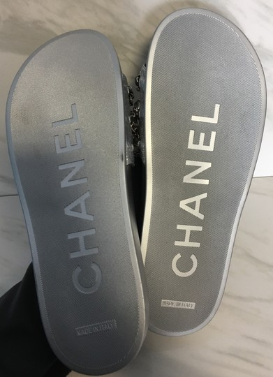 Chanel Camellia Flats Classic 40 Grey Silver Sandals Image 10