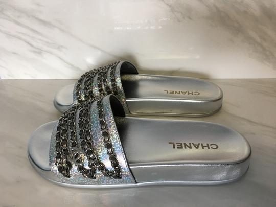 Chanel Camellia Flats Classic 40 Grey Silver Sandals Image 2