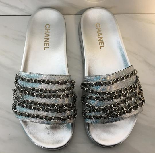 Chanel Camellia Flats Classic 40 Grey Silver Sandals Image 3