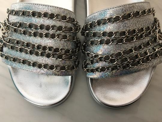 Chanel Camellia Flats Classic 40 Grey Silver Sandals Image 5
