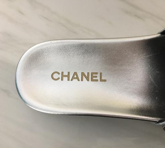 Chanel Camellia Flats Classic 40 Grey Silver Sandals Image 7
