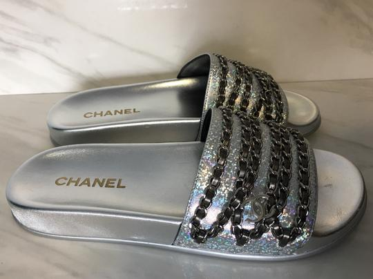 Chanel Camellia Flats Classic 40 Grey Silver Sandals Image 8
