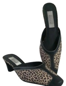 Allyson Whitmore Animalprint Brownmules Sliponshoes Kittenheels Brown Mules