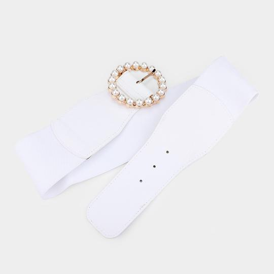 Other Pearl Circle Buckle Elastic Stretch Belt Image 3