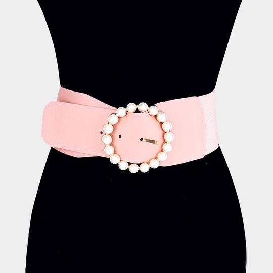 Other Pearl Circle Buckle Elastic Stretch Belt Image 2