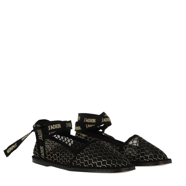 Item - Black Nicely-d 'miss J'adior' Ribbon Gold Mesh Wrap-around Espadrilles Flats Size EU 39.5 (Approx. US 9.5) Regular (M, B)