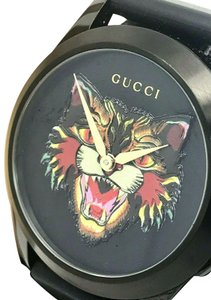 Gucci Gucci Tiger Head Dial Swiss Black Rubber Band 38mm Unisex Watch RARE