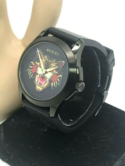 Gucci Gucci Tiger Head Dial Swiss Black Rubber Band 38mm Unisex Watch RARE Image 1