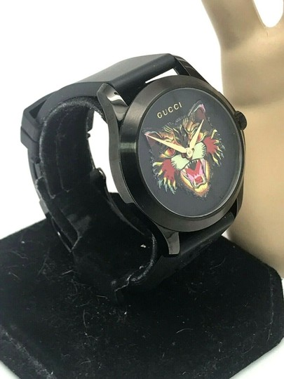 Gucci Gucci Tiger Head Dial Swiss Black Rubber Band 38mm Unisex Watch RARE Image 11