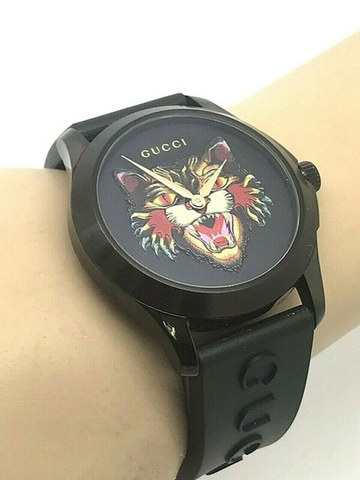 Gucci Gucci Tiger Head Dial Swiss Black Rubber Band 38mm Unisex Watch RARE Image 3