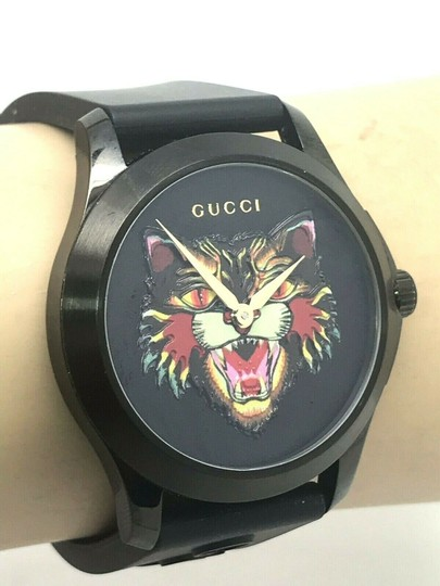 Gucci Gucci Tiger Head Dial Swiss Black Rubber Band 38mm Unisex Watch RARE Image 8