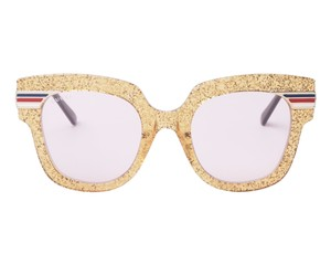Gucci NEW Gucci GG0281SA Gold Glitter Pink Tinted Lens Oversized Sunglasses