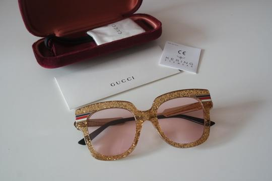 Gucci NEW Gucci GG0281SA Gold Glitter Pink Tinted Lens Oversized Sunglasses Image 1