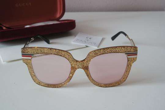 Gucci NEW Gucci GG0281SA Gold Glitter Pink Tinted Lens Oversized Sunglasses Image 2