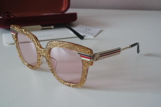 Gucci NEW Gucci GG0281SA Gold Glitter Pink Tinted Lens Oversized Sunglasses Image 3
