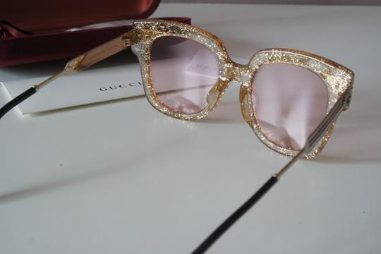 Gucci NEW Gucci GG0281SA Gold Glitter Pink Tinted Lens Oversized Sunglasses Image 4