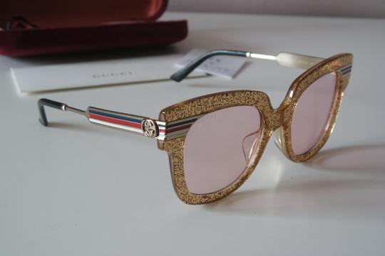 Gucci NEW Gucci GG0281SA Gold Glitter Pink Tinted Lens Oversized Sunglasses Image 5