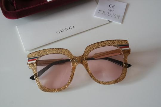 Gucci NEW Gucci GG0281SA Gold Glitter Pink Tinted Lens Oversized Sunglasses Image 6