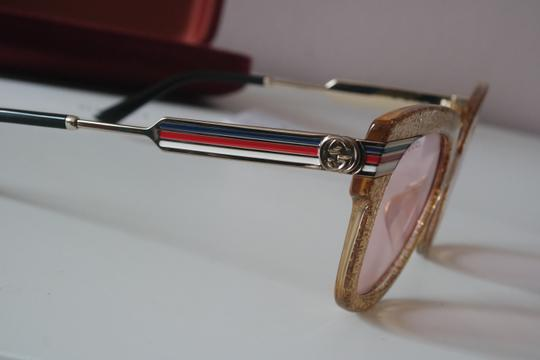 Gucci NEW Gucci GG0281SA Gold Glitter Pink Tinted Lens Oversized Sunglasses Image 7