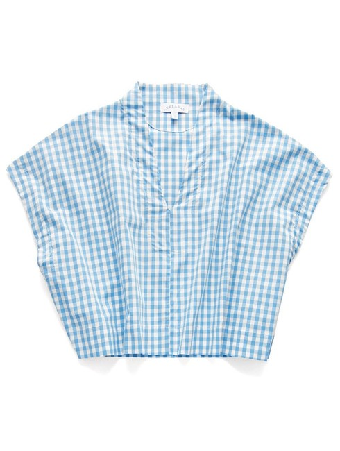 Leelanau V-neck Preppy Linen Summer Top Sky Gingham Image 0