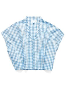 Leelanau Summer V-neck Preppy Classic Top Sky Gingham