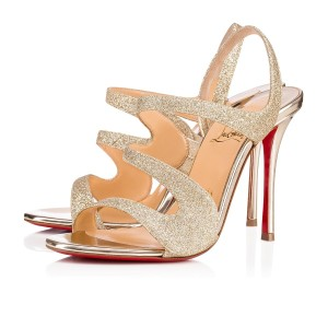 Christian Louboutin Very Rete Stiletto Platform Mesh Gold Sandals