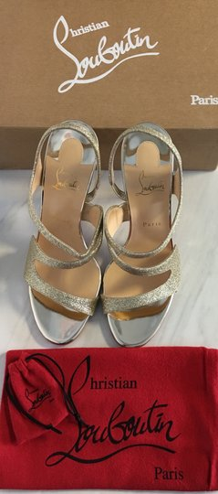 Christian Louboutin Very Rete Stiletto Platform Mesh Gold Sandals Image 1