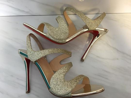 Christian Louboutin Very Rete Stiletto Platform Mesh Gold Sandals Image 2