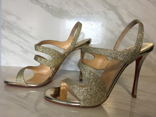 Christian Louboutin Very Rete Stiletto Platform Mesh Gold Sandals Image 3